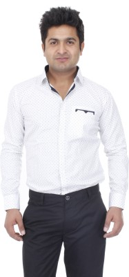 Aces Blue Men's Printed Casual White Shirt
