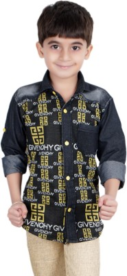 Ice Blue Boy's Graphic Print Casual Yellow Shirt