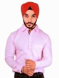 Flutter Men's Solid Formal Pink Shirt