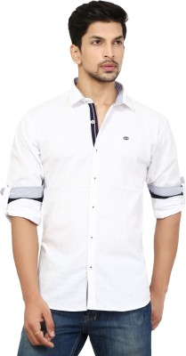 La Seven Men's Solid Casual White Shirt