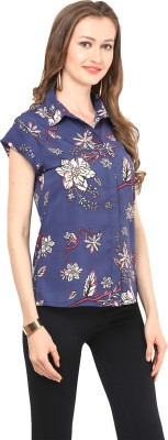 Stilestreet Women's Floral Print Casual Blue Shirt