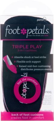 Foot Petals Triple Play PU Foam Heel Regular, Orthotic Shoe Insole