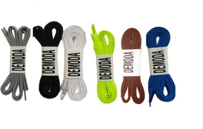 Demoda Flat pack of Grey,Black,White,Neon green,Brown,Blue Shoe Lace