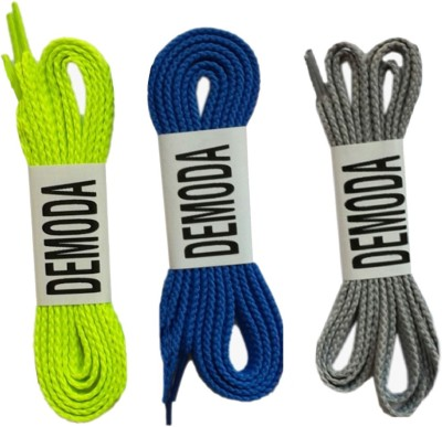 Demoda Flat pack of Neon green,Blue,Grey Shoe Lace
