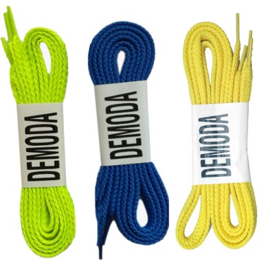 Demoda Flat-Yellow,Neon green,Blue Shoe Lace