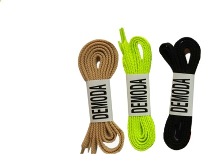 Demoda Flat Pack of 3-Beige,Neon green,Black Shoe Lace