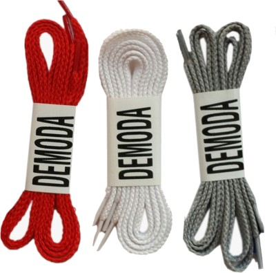 Demoda Flat Pack of 3-Red,White,Grey Shoe Lace