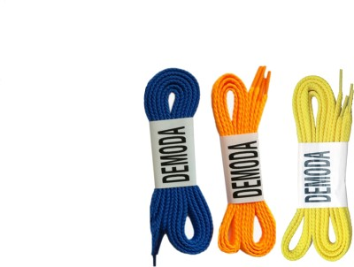 Demoda Flat Pack of 3-Blue,Orange,Yellow Shoe Lace