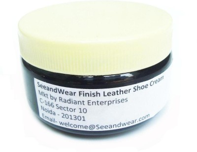 Seeand Wear For Black Leather Medium Shine Leather, Synthetic Leather Shoe Cream(Black)