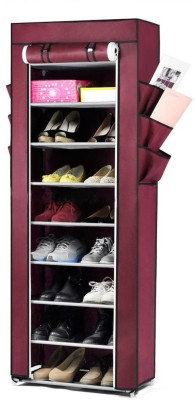 Pindia Fancy 10 Layer Maroon Shoe Rack Organizer Polyester Shoe Cabinet