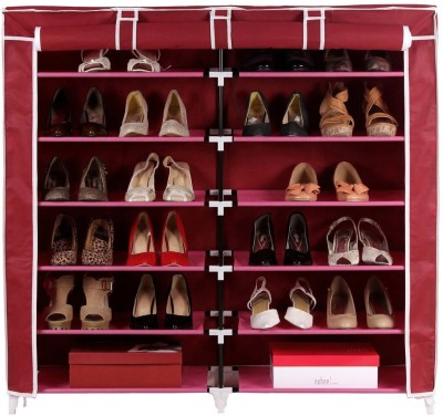 Pindia Fancy 6 Layer Double Maroon Shoe Rack Organizer Polyester Shoe Cabinet
