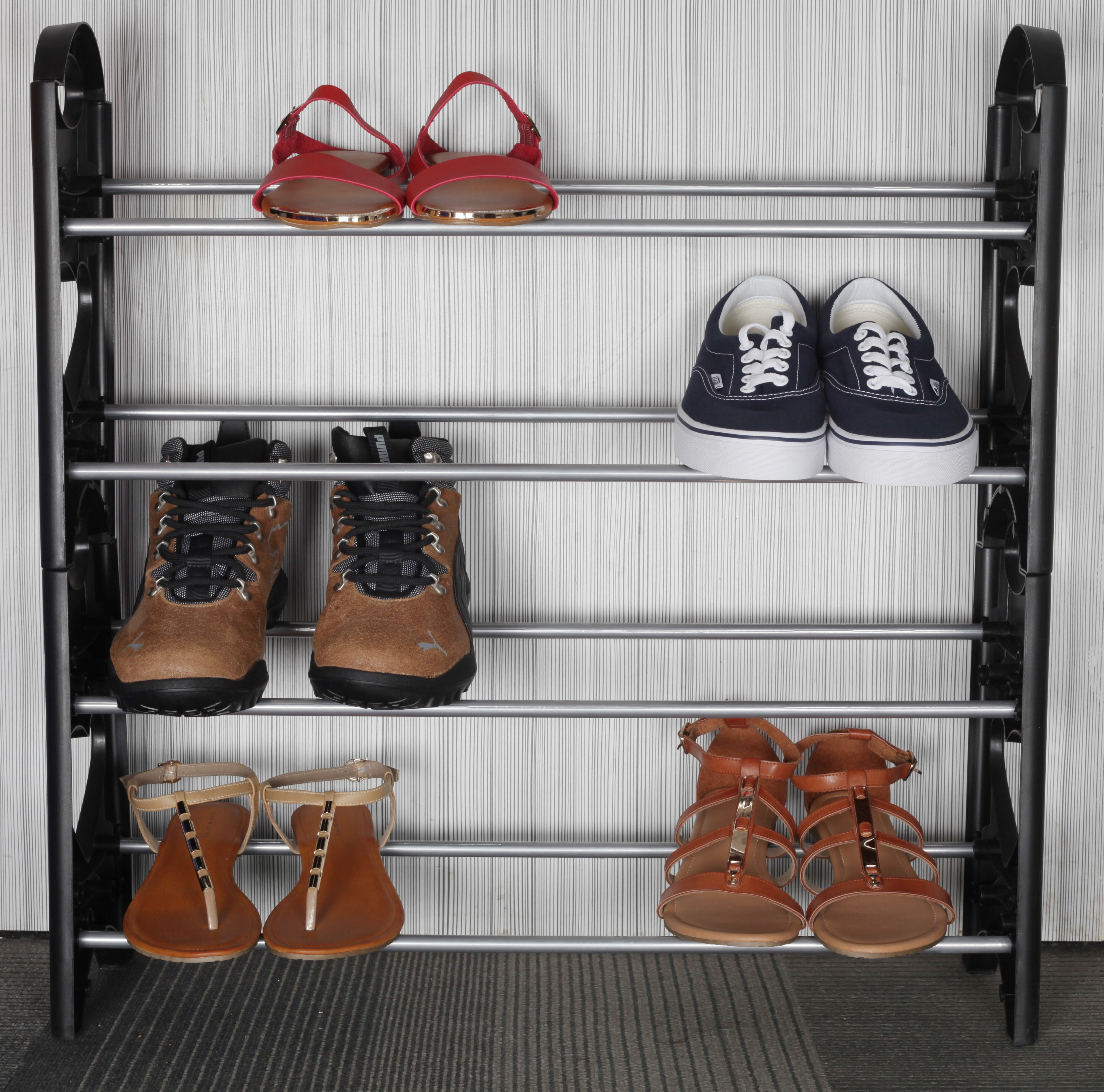 View Pearl 4 Layers Shoe Rack Metal Shoe Cabinet(Black) Furniture (Pearl)