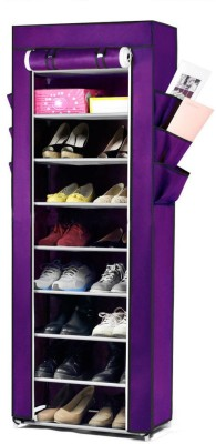 Pindia Fancy 10 Layer Purple Shoe Rack Organizer Polyester Shoe Cabinet