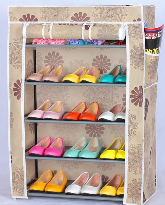 Evana Nylon Shoe Cabinet(Brown, 5 Shelves)