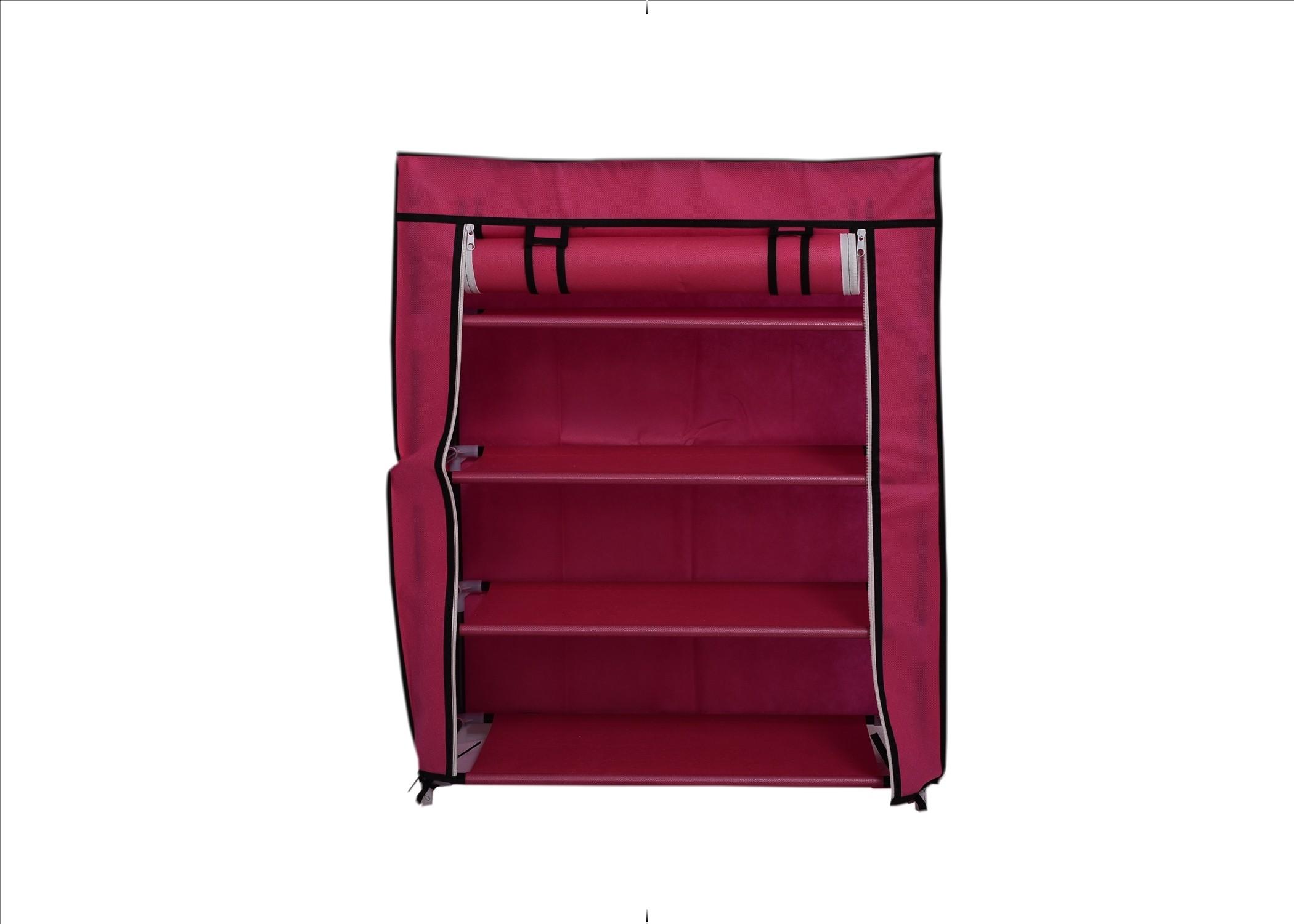 View Chrome Nylon Shoe Cabinet(Red, 4 Shelves) Furniture (Chrome)