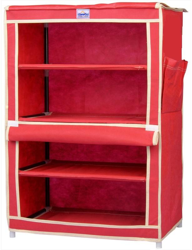 CbeeSo Steel Shoe Cabinet(Maroon, 4 Shelves)