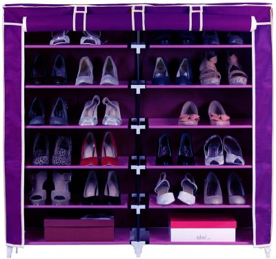 Pindia Fancy 6 Layer Double Purple Shoe Rack Organizer Polyester Shoe Cabinet