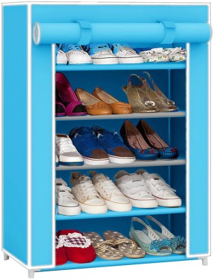 Pindia Fancy Layer Sky Blue Shoe Rack Organizer Polyester Shoe Cabinet