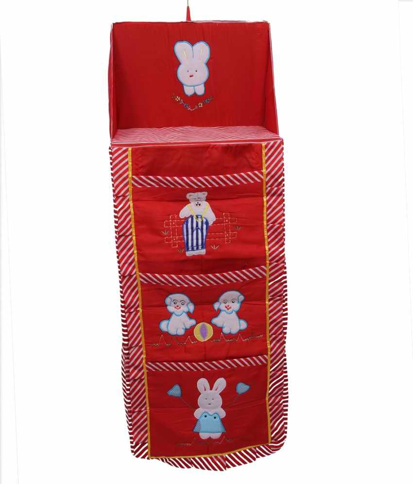 View Kuber Industries Cotton Collapsible Wardrobe(Finish Color - Red) Furniture (Kuber Industries)