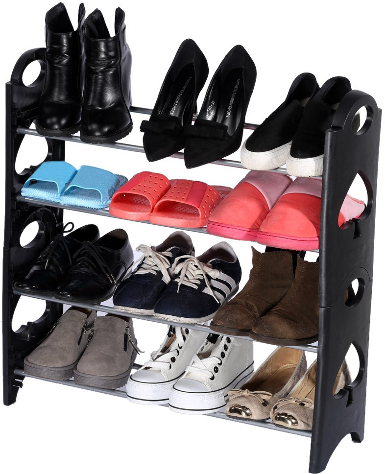 View Onlyimported.com Plastic Shoe Cabinet(Black, 4 Shelves) Furniture (Onlyimported.com)