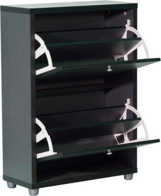 Woodstock India Engineered Wood Shoe Cabinet(Grey, Black, 4 Shelves)