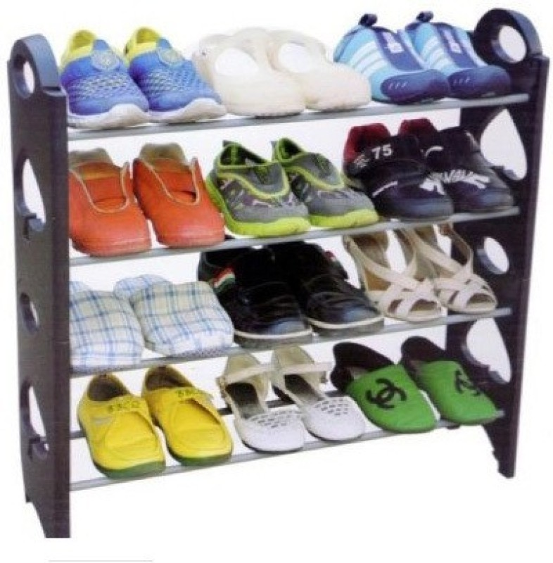 Evana Plastic Shoe Cabinet(Black, 4 Shelves)