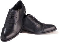 Walker Styleways Excellent Black Leather Brogue Lace Up Shoes(Black)