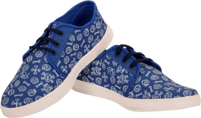 Invezo Impression Printed Blue Skeleton Canvas Shoes Canvas Shoes