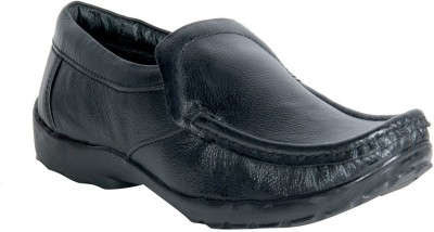 Panahi Black 100% Genuine Leather Slip On Loafer Casuals