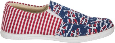 Advin England Red & Blue Printed Casual Shoes Slip On