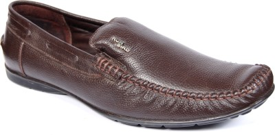 Runbird Trendy Brown Leather Slip On Shoes