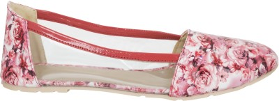 Fashion Feet Floral Printed Pink Leatherette Ballerinas Bellies