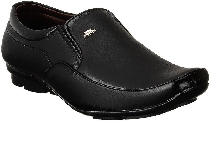 Shoe Island Classic-X Black Formal Shoes Slip On(Black)
