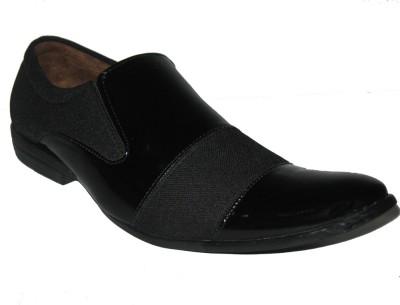 Jajos Black/Grey Formal Shoes Slip On