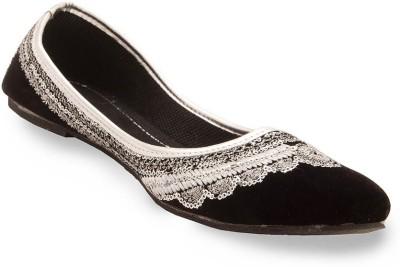 Little India Women Sequin Work Black Velvet Ballerina Sandals 303 Jutis
