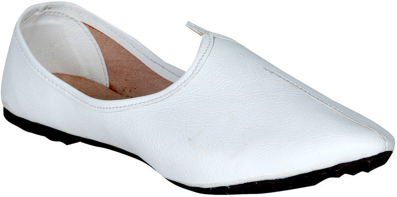 Panahi White Synthetic Leather Slip On Jutis Casuals, Party Wear