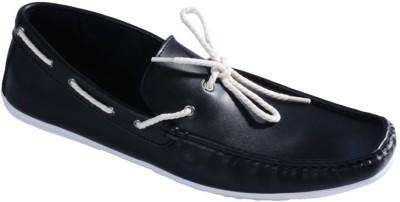 Pinellii Footloose Slip On Black Boat Shoes