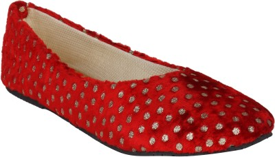 Stylistry Maxis Toni Red & Golden Dots Women Closed Toe Bellies
