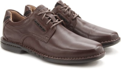 Clarks Uncorner Plain Brown Leather Sneakers