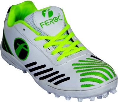 Feroc Green White Cricket Shoes