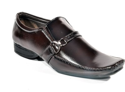 Big Wing Shiny Brown Slip On Shoes