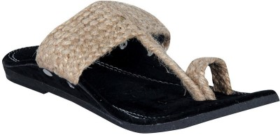 Panahi Brown Jute Velvet Slip On Kolhapuris Casuals, Party Wear