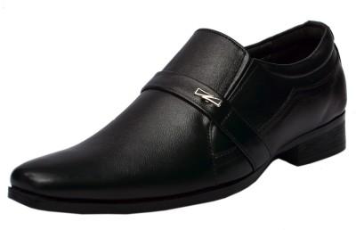 Molessi Black Genuine Leather Formal Slip On Shoes