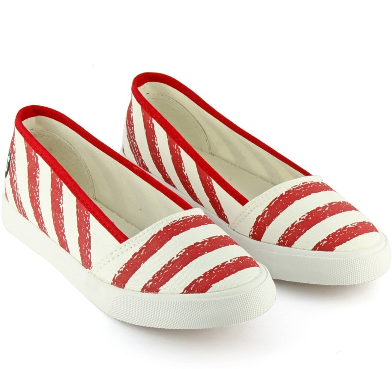 Devee Sea Striped Star Printed White Red Canvas Shoes