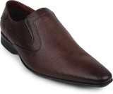 Shumael Brown Leather Slip On Shoes (Bro...