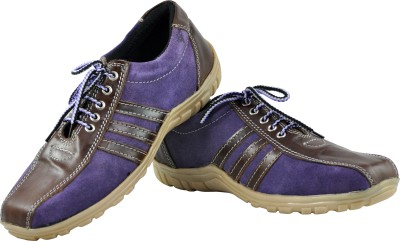 Alpha Man Brown Stripes Over Purple Casual Shoes