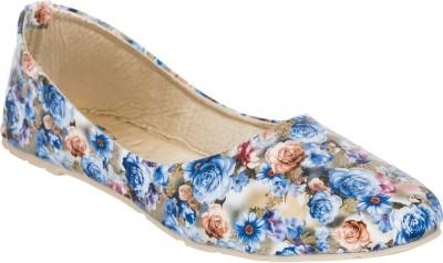 Fashion Feet Floral Printed Blue Leatherette Ballerinas Bellies