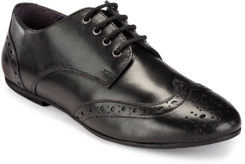 Hats Off Accessories Black Genuine Leather Brogues Corporate Casu