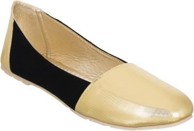 Fashion Feet Gracious Golden Black Leatherette Ballerinas Bellies