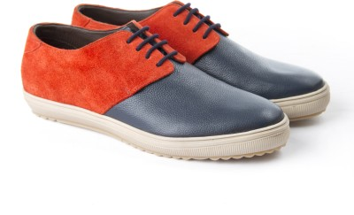 Shoe Studio Madras Summer Orange & Egyptian Blue Sneakers Casual Shoes